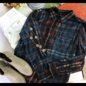 Who What Wear Plaid Semi Sheer Shirt Size 1X EUC